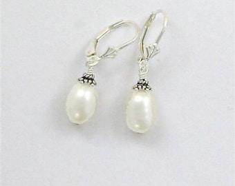 Sterling Silver Pearl Drop Leverback Earrings