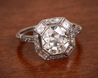 Estate Engagement Ring - 2.23ct Old European Cut Diamond in Platinum Setting - Estate Engagement Ring