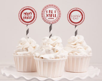 Printable Bohemian Holiday Stickers | Instant Download PDF | Printable Gift & Favor Stickers | Holiday Cupcake Toppers | Christmas Packages