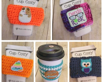 Crochet coffee cup holder, unicorn poop cup holder, Koala cup cozy, Nerd coffee holder, Owl gift, knitted cup holder, cup cozy