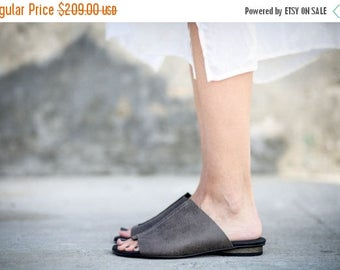SALE New! Summer Flats, Grey Leather Sandals, Handmade Sandals, Summer Shoes, Grey Slide Sandals, Sabine