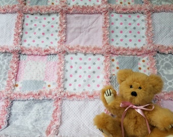 Pink and gray flannel rag quilt lovey / security blanket with minky back