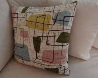 "Atomic Barkcloth Pillow Cover ""Broken Blocks"" Zippered Spaceage 50's"
