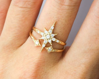 Starburst cluster diamonds ring set in solid 14k gold, 18k gold, pave diamond star stacking ring set, dainty statement ring sb-r102-set