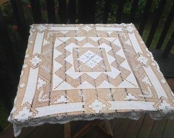 "Pretty Square Filet Lace Vintage French, Tablecloth. Light Cream. Very Fine. 28"" x28"" ( 70 cm x 70 cm)"