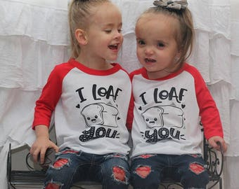 I Loaf You Valentines Raglan, Valentine's Day Shirts, Kids Valentines Shirt, Girls Valentine Tee, Boys Valentine Tee, I Love You Kids Shirt