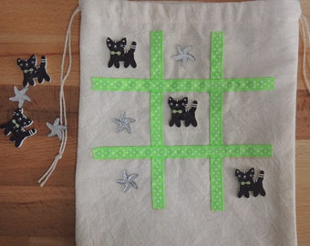 Marble bag. Party favor gift. Car game. tic tac toe. childrens travel game. toys and games. cats. Naughts and crosses. Board games.