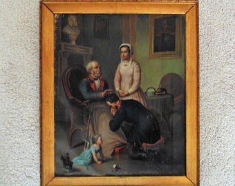 18th or 19th c. Family Portrait Painting American Revolutionary War w/ Soldiers Folk Art Primitive