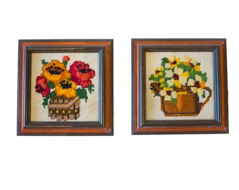 Mid-Century Floral Embroidery, Set of 2