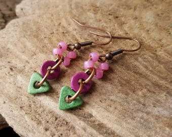 Greek Ceramic Bead Earrings, Boho Style Dangle Earrings, Bohemian Beaded Earrings, Copper Earrings, Pink & Green Dangly Earrings