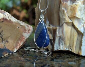 Silver wire wrapped Blue Quartz necklace pear shape pendant Dumortierite mineral gemstone jewelry