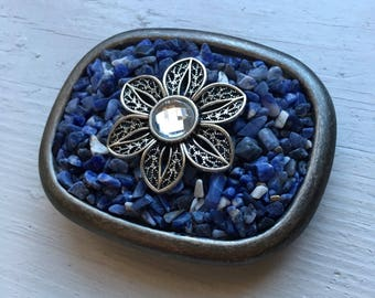 belt buckle  blue beaded belt buckle sodalite stone flower buckleantique silver women's belt buckle Lavish Lucy Designs