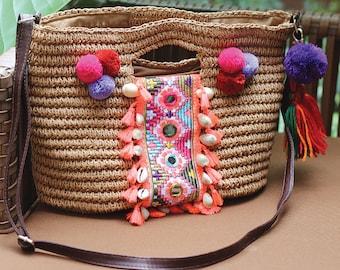 Miya's Original Bohemian Straw Bag Shoulder Bag
