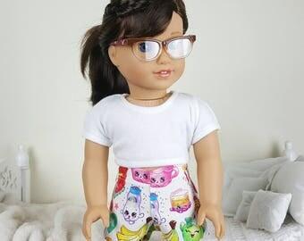 "18 inch doll ""shopkins"" pajama shorts"
