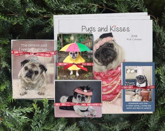 GIFT Pack 1 - The Gretta - 3 Calendars 10 Cards 16 Notecards 10 magnets Gift Pack - Gifts for Pug Lovers - by Pugs and Kisses