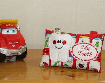 Boys Tooth Fairy Pillow - Personalized Tooth Pillow - Tooth Pillow - Tooth Pillow - Picnic fabric - Personalized Pillow - Tooth Fairy Dust
