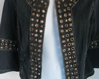 Jean Jacket, Hip, Boho, Stylish, Very Unique with Studs and Revealing Shaped Grommet Holes - Size Small, Stunning Studs!