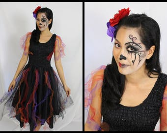 Adult  Halloween  Costume ~ Day of the Dead  ~ Fantasy ~ Theatre ~ Gothic ~ Grunge ~  Dance ~ Quin'ceanera
