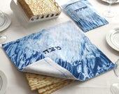 Passover gift set, Matzah tray +Matzah cover 15''X15''+ Afikomen bag , Indigo Shibori Matzo cover and Afikoman bag, Judaica Hand dyed. No.1