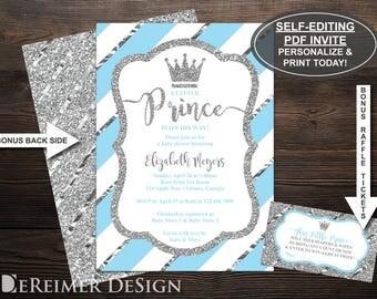 Little Prince Baby Shower Invitation, Prince Invitation, Baby Blue, Blue, Silver, Glitter, Self-Editing PDF Invite, BONUS Raffle Tickets