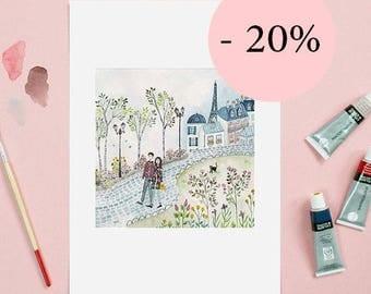 Art print Paris, city, Eiffel tower, fine art, vintage, artwork, home decor, print, art print, Illustration,watercolor, painting, drawing
