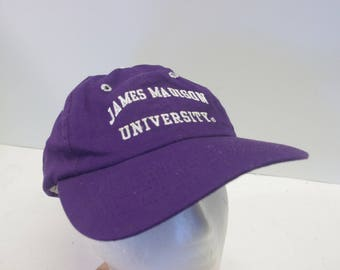 Vintage 90s JMU James Madison University snapback hat cap