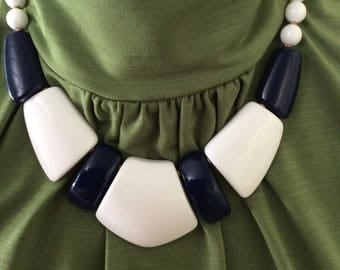 Chunky White and Navy Blue Necklace