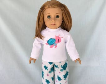 Sea Turtle Pajamas and Optional Slippers for American Girl/18 Inch Doll