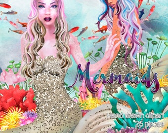 Mermaid themed clipart / 26 fashion clipart / High quality  graphics for planners and more / 300ppi transparent background