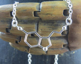 Sterling Silver Serotonin molecule necklace, serotonin necklace, molecule necklace, chemistry necklace, science necklace, geek jewelry, geek