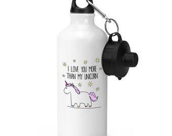 Lila I Love You More Than My Unicorn Sports Bottle