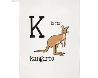 Letter K Is For Kangaroo Tea Towel Dish Cloth