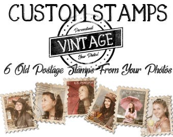 CUSTOM old postage stamps with YOUR PHOTOS! 300 dpi custom clipart, for scrapbooking, papercrafts, card making, mixed media, and more