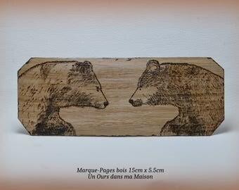 Ooak Wood Bookmarks Bears Pyrograzed  One Piece wood burning