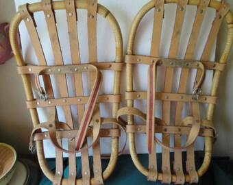 Vintage Wood/Bamboo Frame Snowshoes , Tan Straps