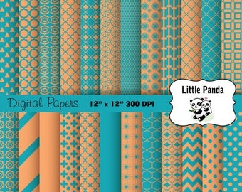 80% OFF SALE Teal Blue and Tan Digital Scrapbooking Papers 24 jpg files 12 x 12 - Instant Download - D327