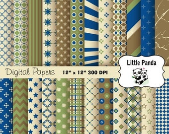 80% OFF SALE Father's Day Digital Paper Pack 24 jpg files 12 x 12  - Instant Download - D277