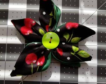 Cherry flower hair clip