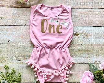Baby First Birthday Outfit - Baby Romper and Flower Crown, First Birthday Girl, Baby Boho Birthday, Boho Baby Romper, Baby Flower Crown, One