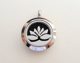Stainless Steel Aromatherapy Diffuser Locket Pendant, Locket Pendant, Lotus Flower Locket Pendant, 20mm, Essential Oils Diffuser