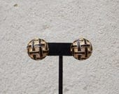 Large Round Gold Black Clip On Earrings, Lattice Pattern