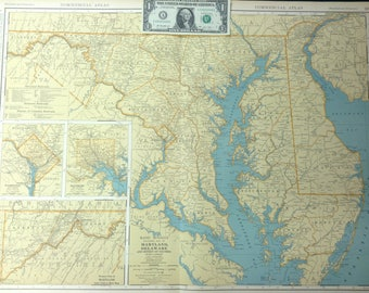 1931 Antique Map of Maryland & Delaware (Washington D.C., Baltimore)-Xtra Large (Commercial size-28x20.5) map w/ nice color and fine detail.