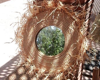 Natural raffia mirror