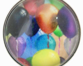 C0597 Art Glass Snap ~ Colorful Balloons