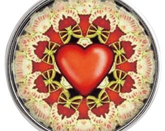 C1052  Art Glass Print Chunk - Fan Flowered Red Heart