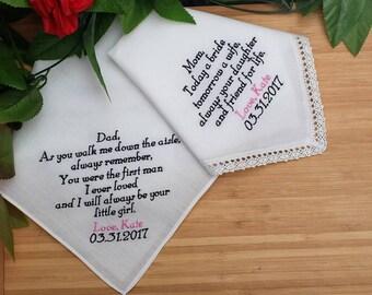 Father of the Bride and Mother of the Bride Handkerchiefs. Wedding Handkerchiefs. Set of 2 Hankies Personalized Handkerchiefs. Linen Hankies