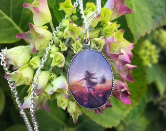 Necklace with Girl in Poppy Field Pendant