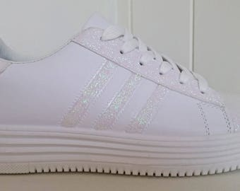 White pearl glitter sneakers
