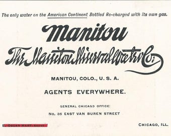 1880-1890 The Manitou Mineral Water Co Advertisin Card