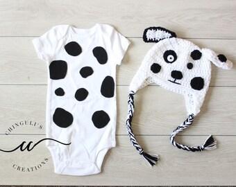 HAT AND BODYSUIT Set Crochet Dalmatian Puppy Hat and Bodysuit Spotty White and Black Dog Hat White Dalmatian Puppy Hat